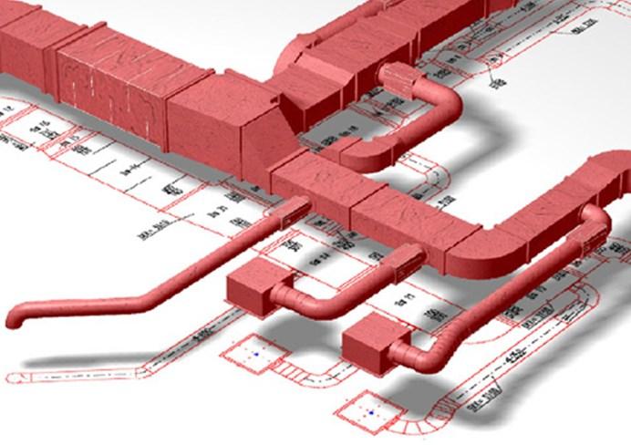 3D модель вытяжной структуры системы отведения дыма