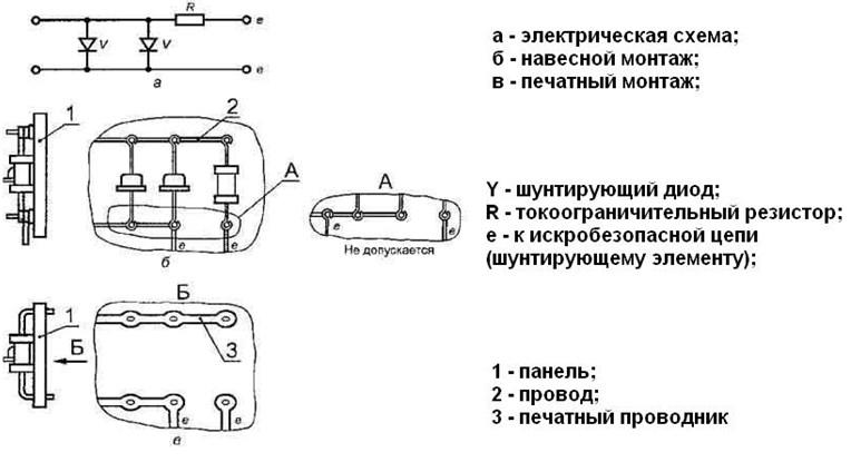Схема устройства, дающего искрозащиту, собранного на диодах, имеет проволочные выходы для подключения