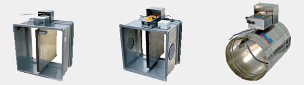 Разновидности клапана противопожарного марки КЛОП 1: 1 с силовым приводом на электромагнитах, 2 с силовым приводом компании производителя BELIMO, 3 круглого сечения