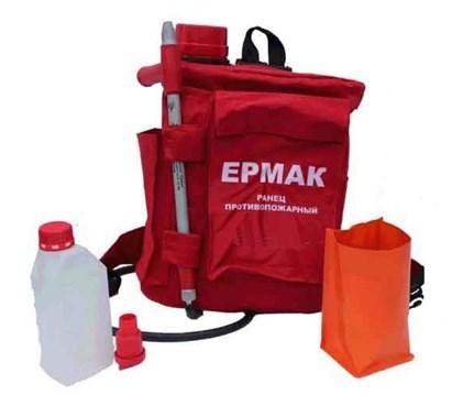 Полная комплектация ранцевого огнетушителя ЕРМАК, на фото видна насадка распылитель для тушения мелкодисперсной водой