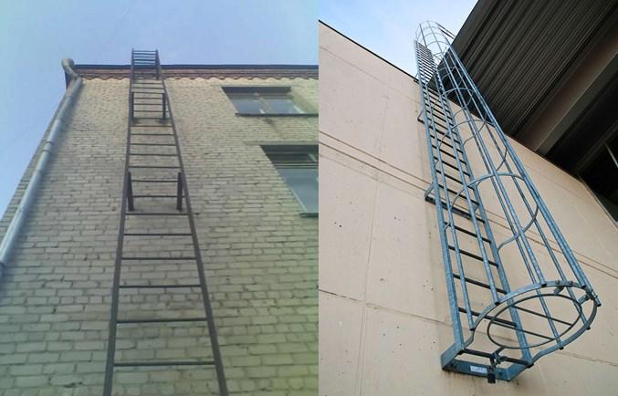 Вертикальные пожарные лестницы 1 – без ограждения, 2 – с круговым ограждением