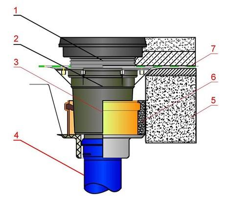 Схема размещения муфты и вспомогательных материалов при монтаже на канализационный стояк