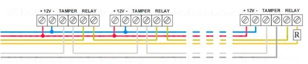 Схема подсоединения трех датчиков движения системы сигнализации