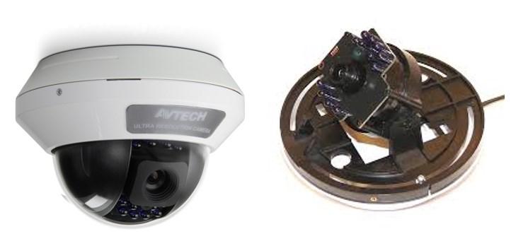 Купольная видеокамера (1) в сборке, (2) вид изнутри