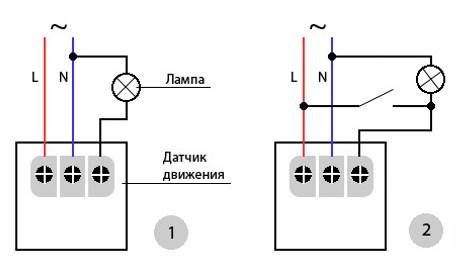 Схема подключения светильника с детектором движения: 1-управление только датчиком, 2-управление датчиком и выключателем.