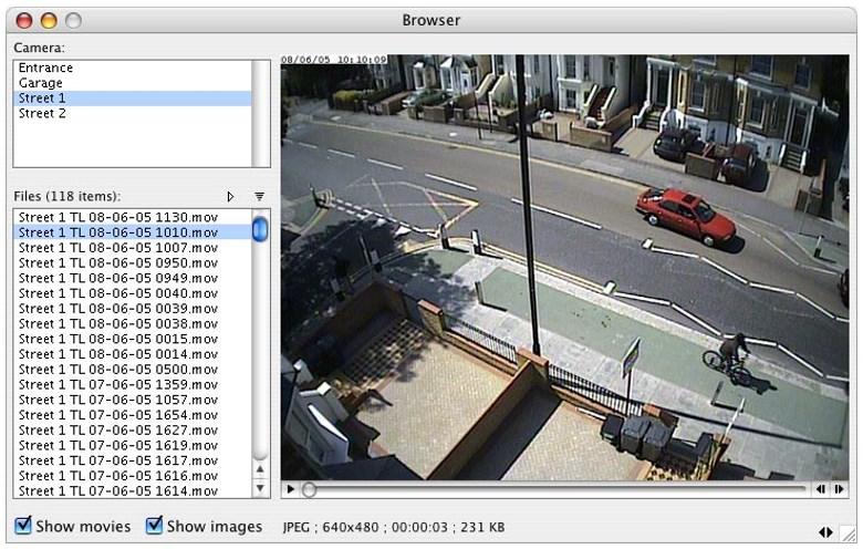 Окно наблюдения программы SecuritySpy