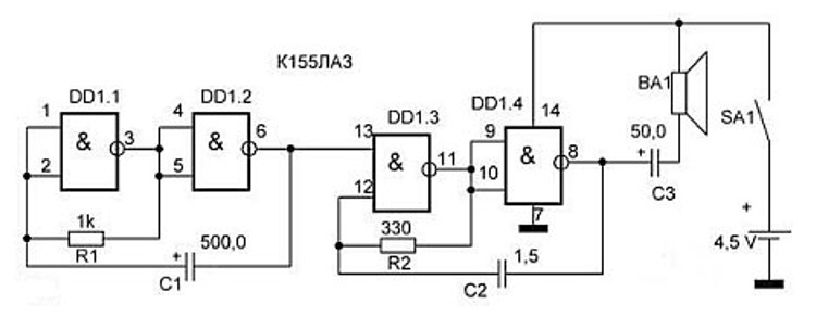 Схема генератора звука, имитирующего сирену, на основании логического элемента К155ЛАЗ