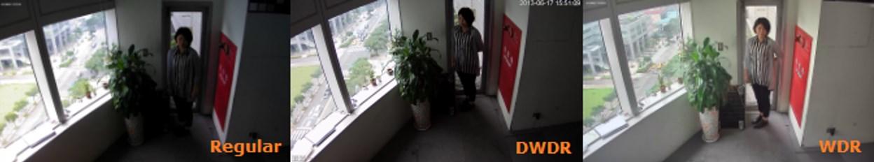 Пример изображения со встречной засветкой снятого с применением функций DWDR, WDR и без них