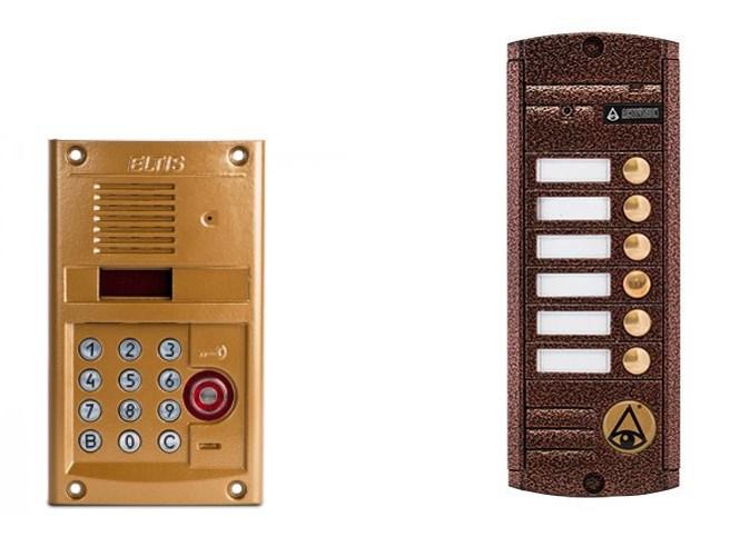 Вызывные панели видеодомофонов (1) координатный, модель Eltis DP 400-TDC 22, (2) адресный, модель Activision AVP 456