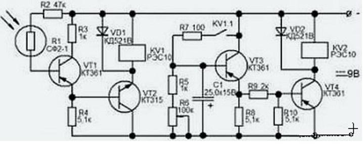 Схема сигнализации с лазерной ручкой - приемник луча на транзисторах