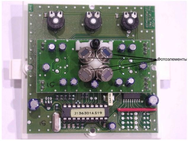 Внутреннее строение потолочного детектора присутствия с круговым сканированием