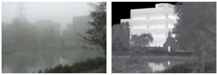 Изображение, полученное при помощи обычной камеры (слева) и тепловой (справа) в туман
