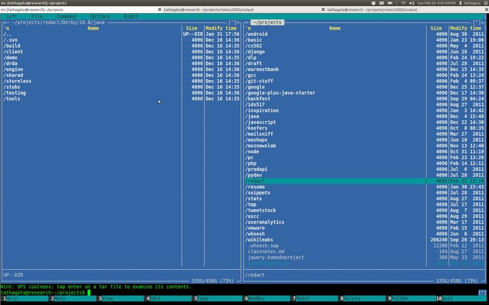 Панельный интерфейс Midnight Commander
