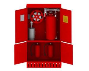 Пожарный шкаф ШПК Пульс двухсекционный укомплектованный средствами пожаротушения