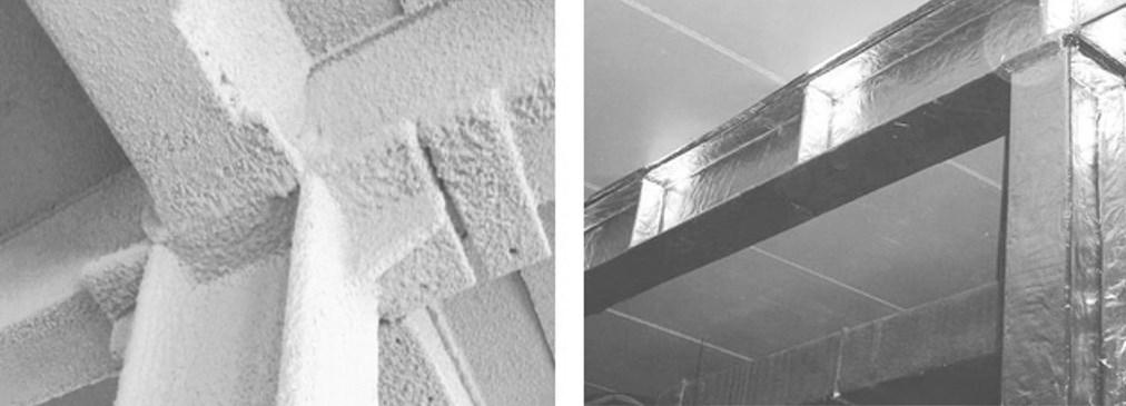 Способы защиты металлических конструкций (А) штукатурка, (Б) фольгированное покрытие – отражает ИК излучение