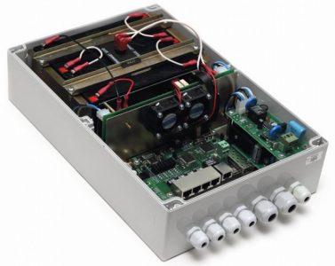 Уличный коммутатор системы видеонаблюдения с блоком питания укомплектованным аккумулятором, модель TFortis PSW-1G4F-UPS